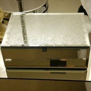 Mirrored Glitter Lace Jewelry Keepsake Storage Box
